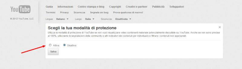 Attivare la sicurezza su Youtube 23ubo710