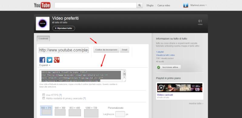 Come integrare una playlist di Youtube sul proprio sito Condiv11