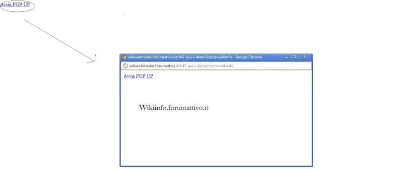 Codice Javascript per far aprire un POP UP cliccando un link Demoja11
