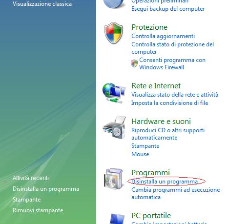 Come disinstallare un programma su Windows Vista 7 Disins10