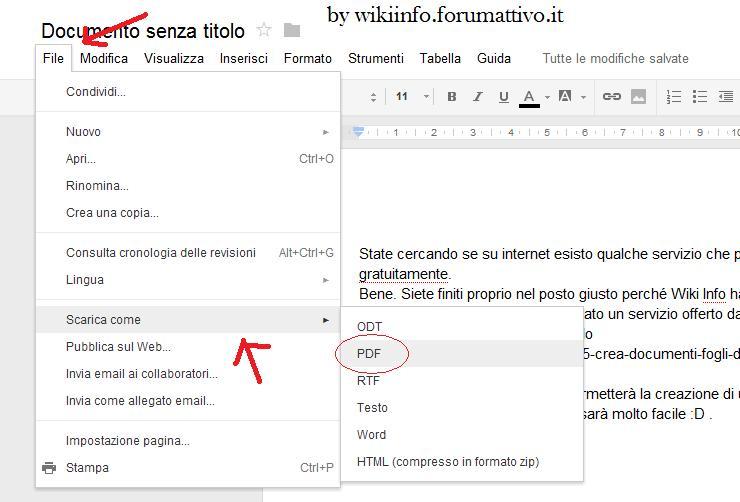 Creare file PDF online gratuitamente Docume12