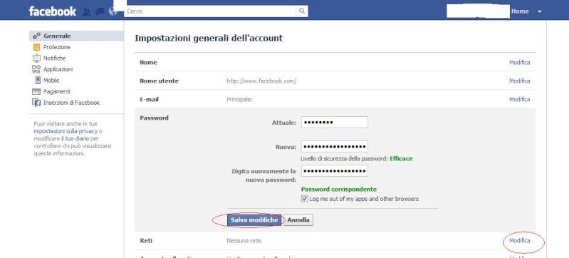 Come cambiare password del profilo Facebook Facebo11