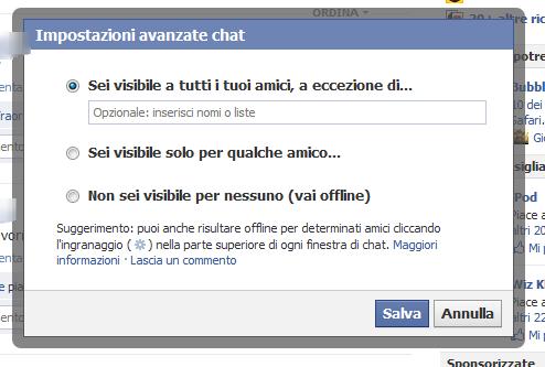Come posso risultare invisibile per alcune persone sulla chat di Facebook? Facebo15