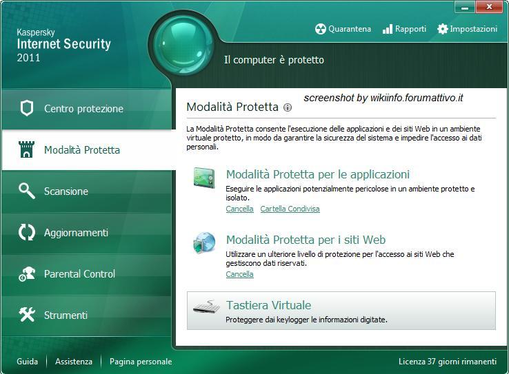 Come aprire la tastiera virtuale con Kaspersky Internet Security 2011 Keyboa10