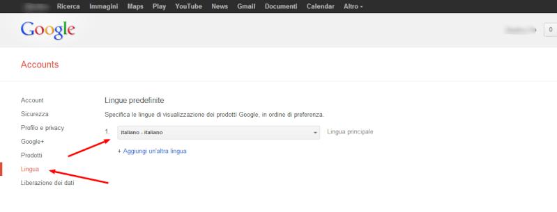 Modificare la lingua del proprio account Google Lingua10