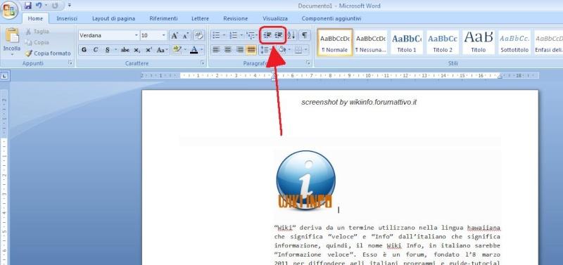Aumentare o ridurre il rientro del paragrafo su Microsoft Office Word 2007 Paragr10