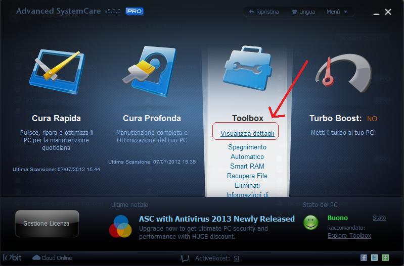 Ottimizzare il gioco sul computer con Advanced SystemCare 5.3 Toolbo10