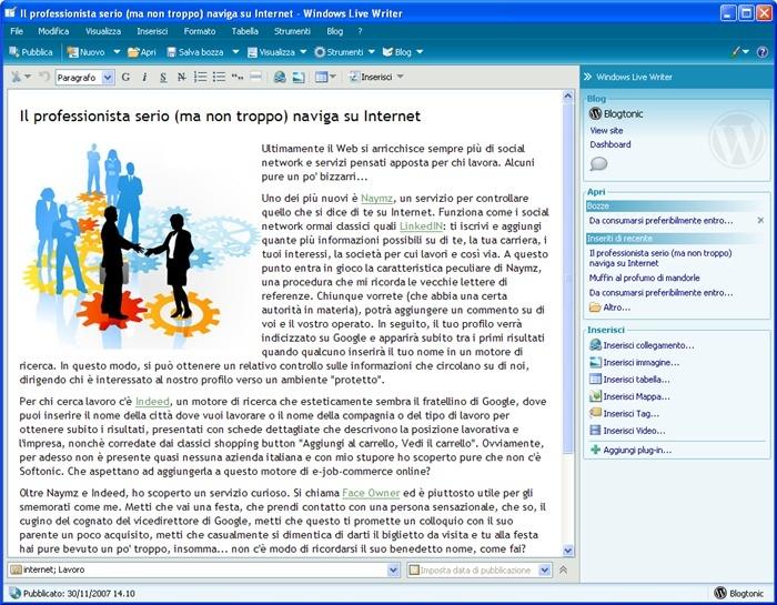 Come amministrare il proprio blog - Windows Live Writer Window10