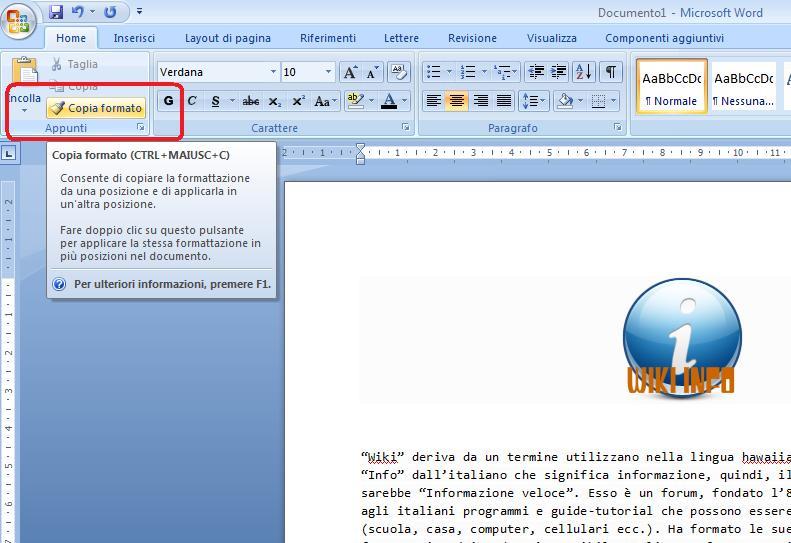 Riconoscere il formato testo su Microsoft Office Word 2007 Word110