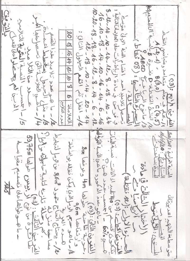 الاختبار رقم 3 - 2012 في الرياضيات Math_010
