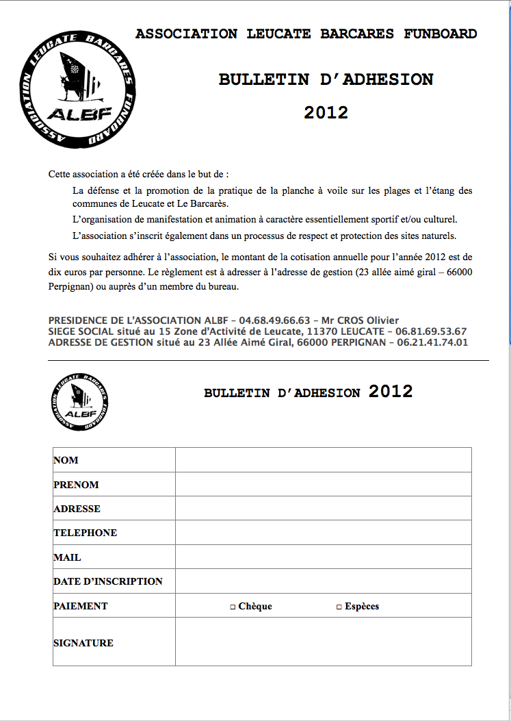 ASSOCIATION ALBF / INSCRIPTION Captur45