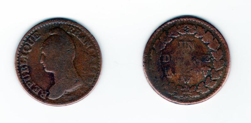 Un Décime An 7 W Pièce a secret dite monnaie de Bagnard Un_dec16