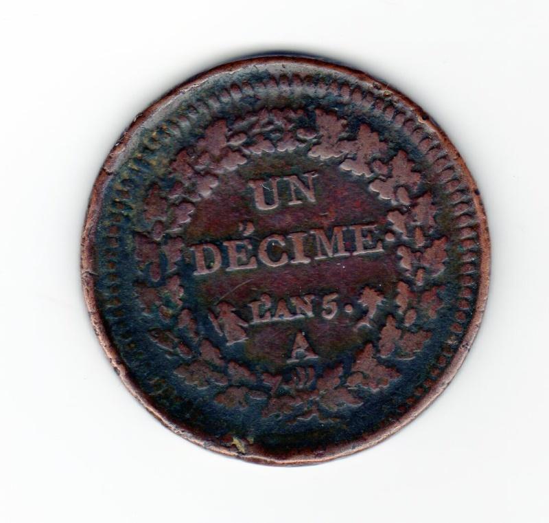 Un Décime An 5 A surfrappe de 2 Décimes  Un_dec19