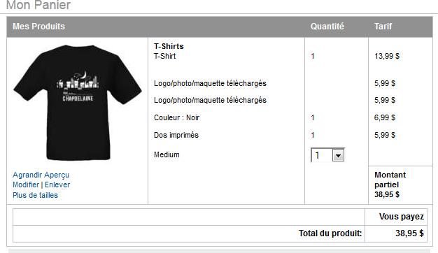 """Commande du T-Shirt """"Rue Chapdelaine"""" Tshirt10"""