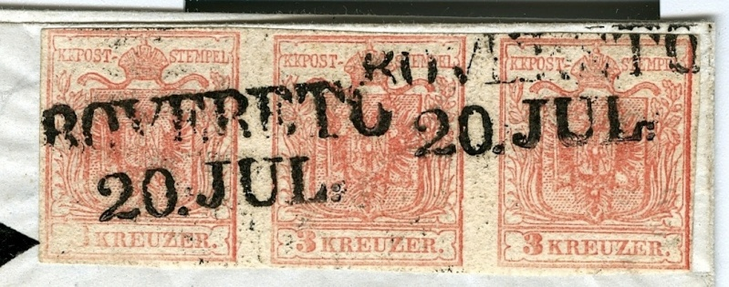 Brief Rovereto-Hallein 1854 mit dreierstreifen und PF 3x_dre11
