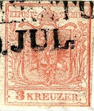 Brief Rovereto-Hallein 1854 mit dreierstreifen und PF 3x_pf_10