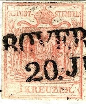 Brief Rovereto-Hallein 1854 mit dreierstreifen und PF 3x_pf_11