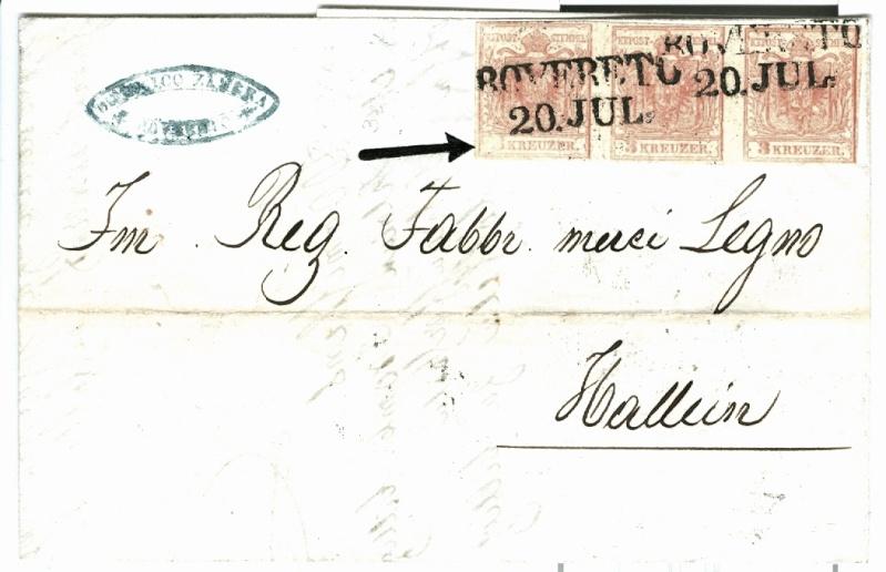 Brief Rovereto-Hallein 1854 mit dreierstreifen und PF 3x_x3_11