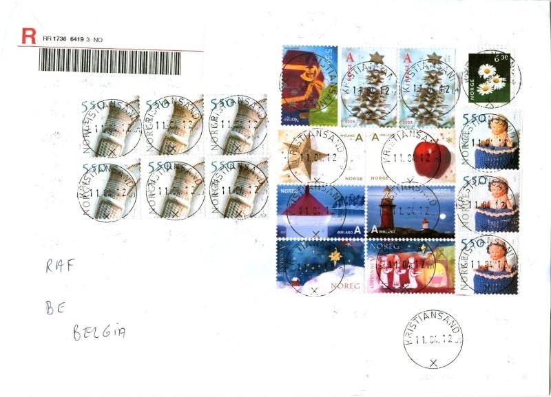 Alle schöne zentrale Rundstempel aus Norwegen auf Brief Brief_12