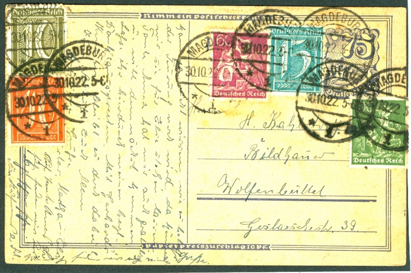 Deutsches Reich Juli 1919 bis November 1923 Weimarer Republik - Inflation Postka10
