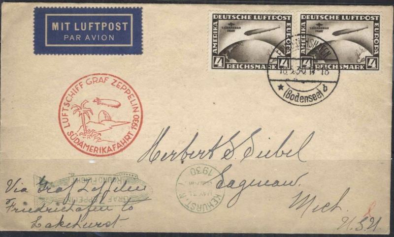 Südamerikafahrt 1930, Post nach Lakehurst Suidam10
