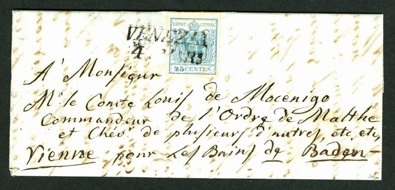 Brief von Venezia nach Baden (Wien) 1852 : Übersetzung gefragt Venezi10