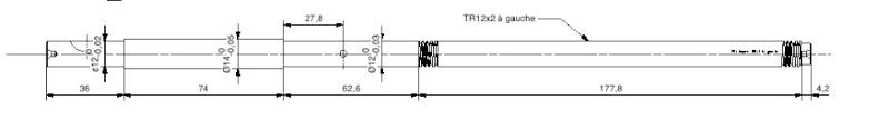 Filetage  trapézoidal vis de 12 x 2 pas à gauche Vis20t10
