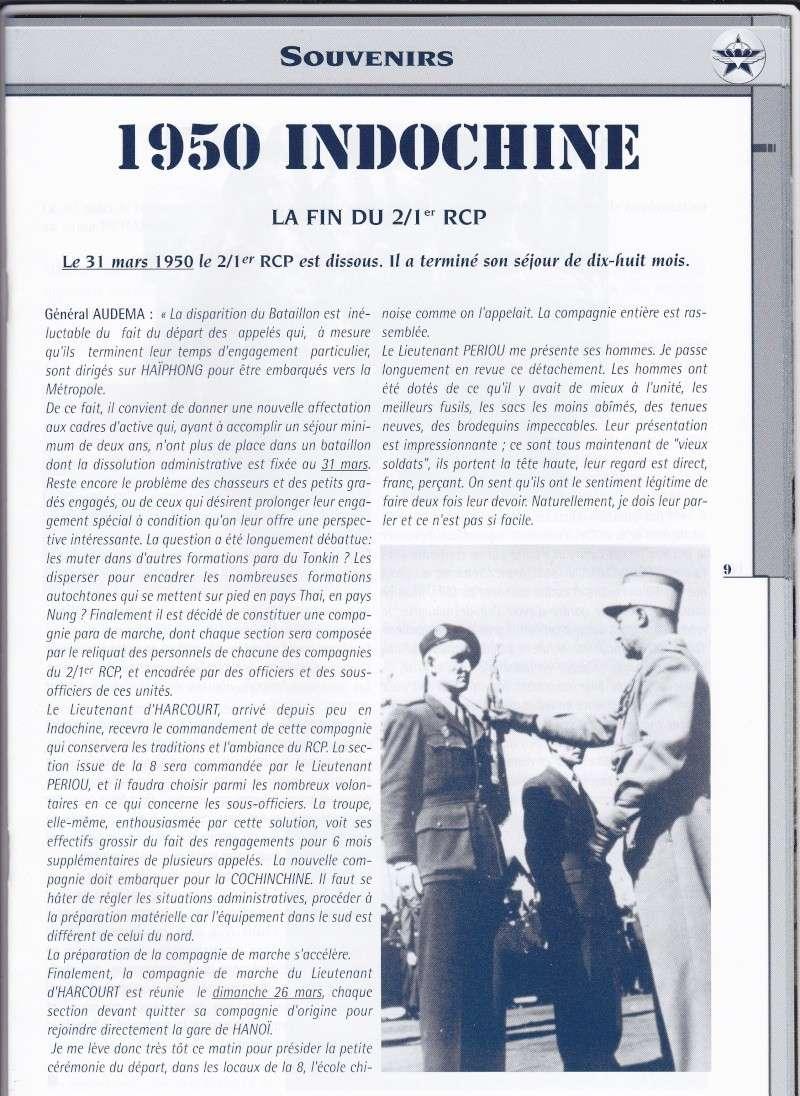 le 31 mars 1950 le 2eme bataillon du 1er RCP est dissous après 18 mois passés en Indochine 1rcpin10