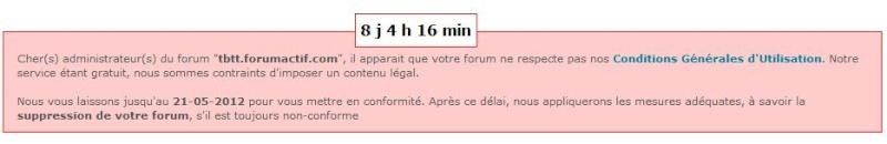 Message d'alerte : Suppression de mon forum Fghj10