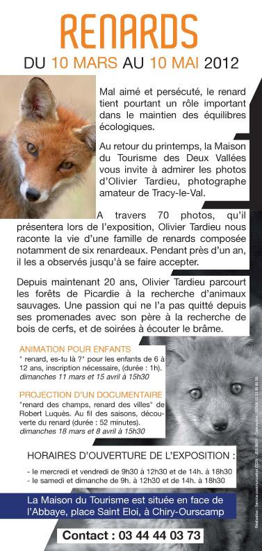 Chiry Ourscamp du 10 mars 2012 au 10 mai 2012, exposition sur le renard Flyer210