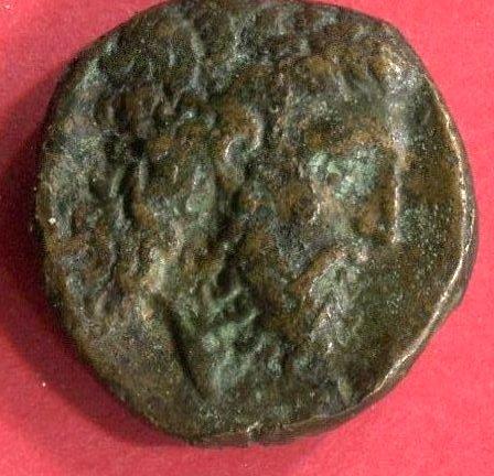 Tête de Zeus r. foudre bronze 18 mm Foto2645