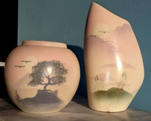 Two cast vases by Highbank Porcelain, Lochgilphead, Mary Oday 00108d10