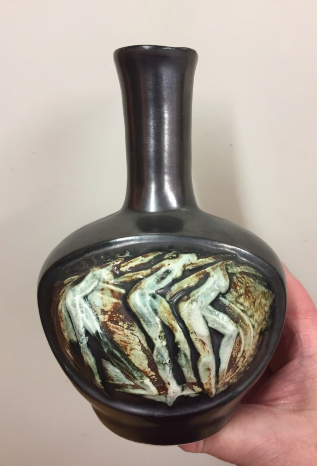 Unmarked vase with dancing figures; not Czech - Made in Ireland  105d3110