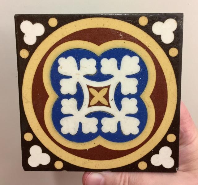 19thC Encaustic tile by William Godwin, Lugwardine Hereford  77231b10