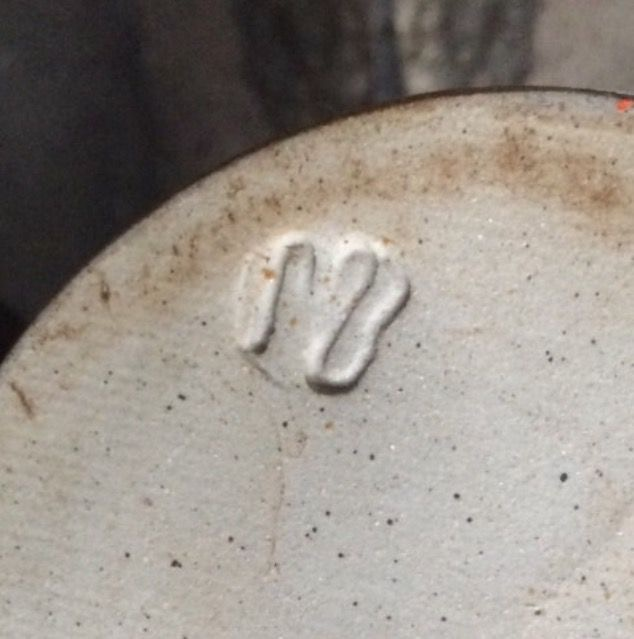 "Blue mottle glaze bowl 8"" across - mark MB? HB? WB? 77dfe810"