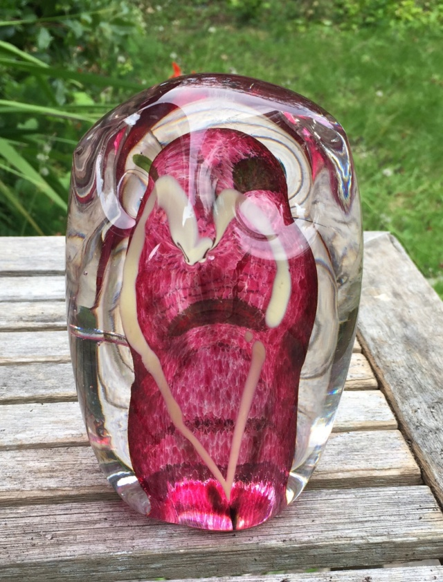 Signed studio glass owl paperweight  A19c7c10