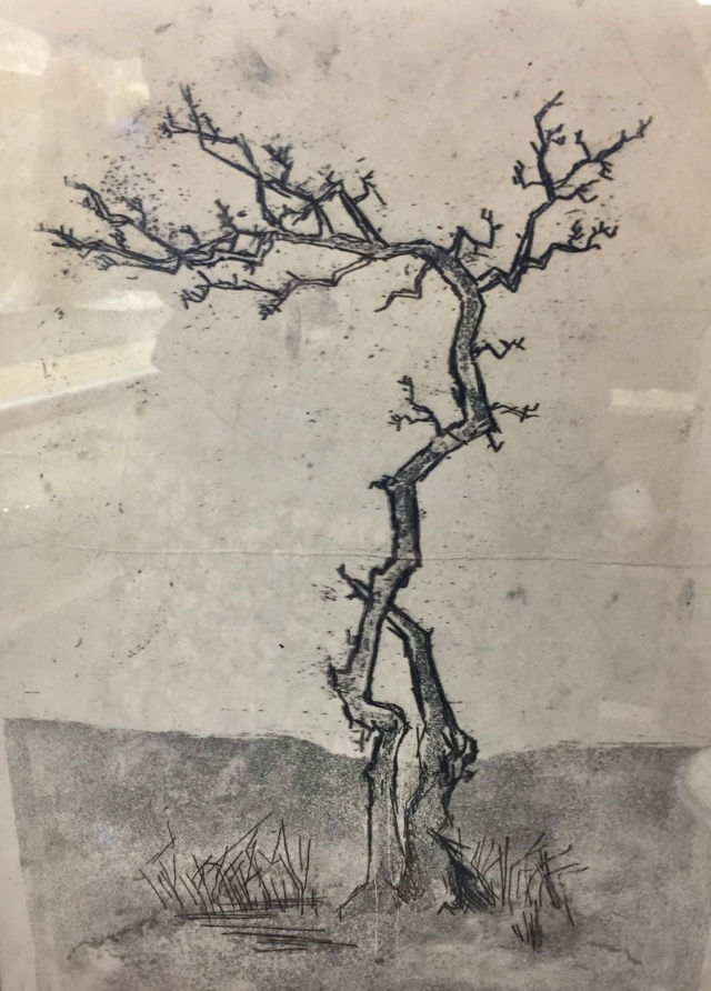 Vintage etching or Lino print of a tree signed  B3fb3310