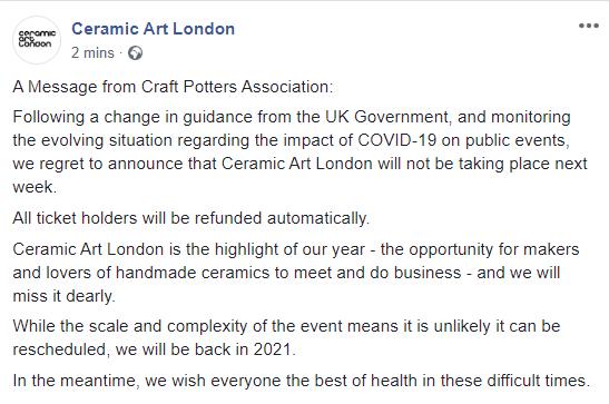 Ceramic Art London 2020 cancelled  Cal10