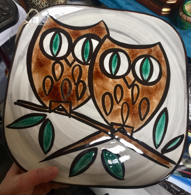 Owls dish, signed  Eb12d010