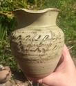 Large green ash glaze jug, incised - Elizabeth Aylmer Hatherleigh Pottery  45313610