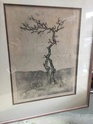Vintage etching or Lino print of a tree signed  5637c510