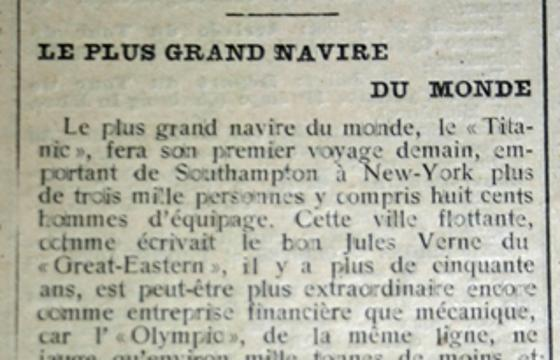 Article de journal français sur le Titanic avant le départ A5b59112