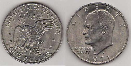 Pièce de 1$ des USA - Logo de la mission Apollo 11 1dolla11