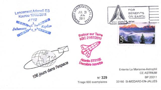 Enveloppe ayant voyagé à bord de l'ATV-2 Johannes Kepler, de l'ISS et de la navette Atlantis / STS-135  2011_011