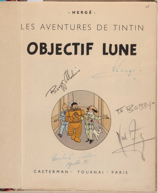"""Enchères : """"Objectif Lune"""" d'Hergé signé par l'équipage d'Apollo 11 ! 24642_10"""