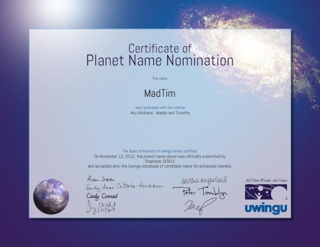 Uwingu.com, création d'une base de données pour des futurs noms de planètes extrasolaires Certif10