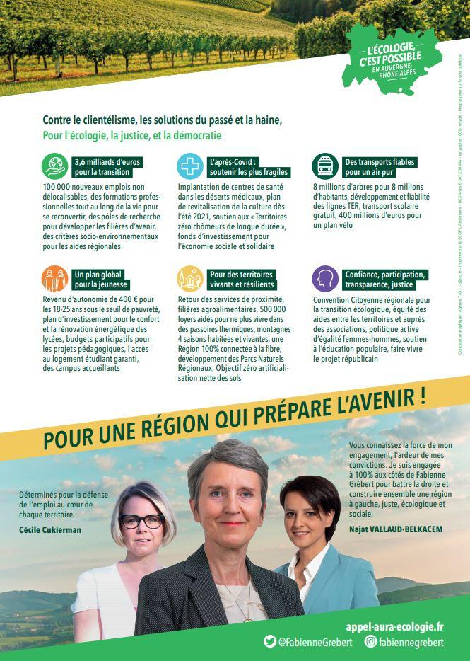 Elections régionales 2021 région AuRA : liste 2 Fabienne Grébert - L'écologie c'est possible  Eelv_r11