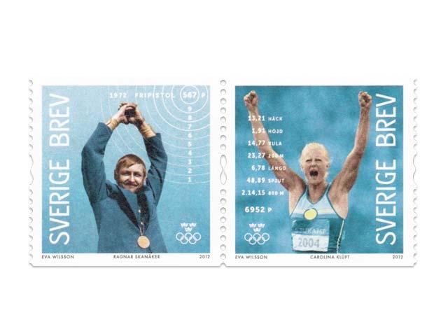 Timbre Suède - Jeux Olympiques de Stockholm 1912 & Champions olympiques suédois 24236110