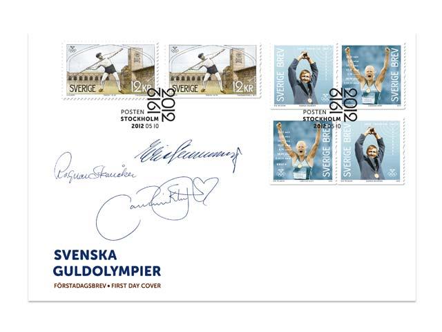 Timbre Suède - Jeux Olympiques de Stockholm 1912 & Champions olympiques suédois 24254210