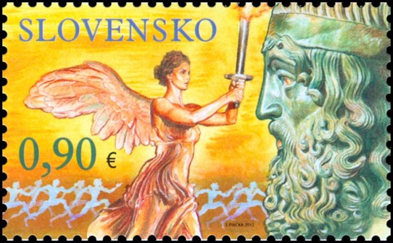 Timbre Slovaquie - Jeux Olympiques et Paralympiques de Londres 2012 (Flamme olympique et athlétisme handisport) 4fc5ee11